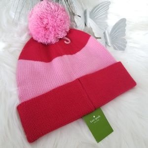 Kate spade pink and red pom pom hat
